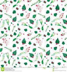 christmas botanical watercolor pattern stock illustration image