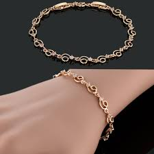 rose gold plated charm bracelet images Stylish excellent chain charm bracelet for women girls rose gold jpg