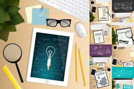 office desk table top view vector illustrations creative market