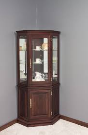 Amish Bookshelves by Hardwood Corner Curio Cabinet With Enclosed Base Corner Hutch