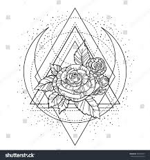 rose flower sacred geometry frame tattoo stock vector 588798437