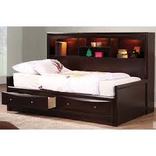 furniture dark brown polished wooden bed frame with storage and