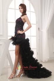 high low dresses strapless with ruffles for girls front short back