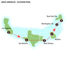 Map To New Orleans by Crescent Amtrak Vacations