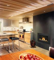 luxury kitchen interior design with ventless fireplace by ny