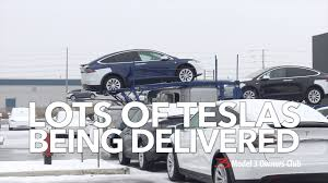 lots of teslas being delivered model 3 owners club youtube