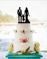 wedding cake toppers and groom family silhouette wedding cake topper with girl