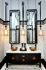 best 25 industrial bathroom design ideas on pinterest photos if incredible hotel bathrooms black and white industrial with white subway tiles double vanity sink with brass accents wire pendant light