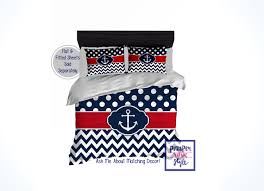 nautical anchor comforter or duvet navy blue and red anchor