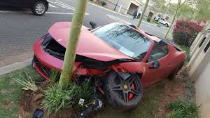crashed red lamborghini ferrari 458 spider crashes inside an estate in johannesburg south