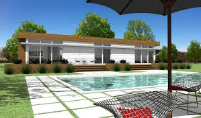 impressive modern prefab kit homes with small pool in front of the
