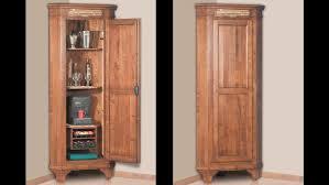 Primitive Corner Cabinet Square Dark Brown Wooden Corner Liquor Cabinet With Bottle And