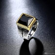 fashion mens rings images 2018 stainless steel rings obsidian square mens rings mens wedding jpg