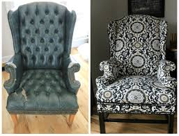 How To Reupholster A Wingback Armchair How To Update A Reupholstered Ottoman Noting Grace