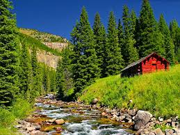 mountains beautiful cottage house trees grass mountain quiet