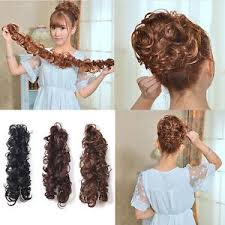 lady women clip ponytail wavy horsetail curly long hairpieces hair