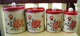 Vintage Kitchen Canister Set by Vintage Canister Set Handpainted Metal Fruit Design Pfaltzgraff