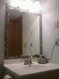Mosaic Bathroom Mirrors by Diy Bathroom Makeover Striped Walls Framed Mirror How To With