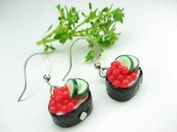 food earrings ikura sushi earrings food jewelry roe japanese sushi