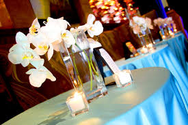 Orchid Centerpieces Raining Roses Topped The Highboy Tables With White Orchid