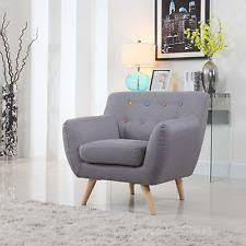 Light Grey Accent Chair Mid Century Modern Multi Color Tufted Button Large Living Room