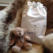 engraved teddy bears personalised baby bag and optional teddy by big stitch
