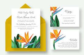 bird paradise flower wedding suite invitation templates