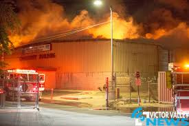 Building Destroyed By Fire At San Bernardino County Fairgrounds In