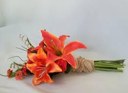 orange wedding flowers artificial tiger lillies bouquets autumn