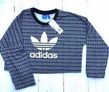 adidas crop top sweater adidas originals 3 stripes cropped s sweater black white