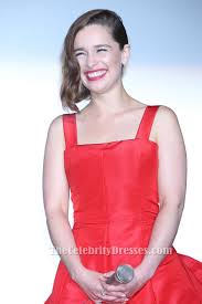 emilia clarke red cocktail party dress u0027terminator genisys u0027 tokyo