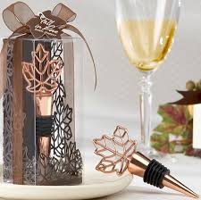 wine bottle favors wine bottle stopper fall wedding favors autumn leaf design