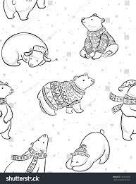 black white christmas seamless pattern polar stock vector