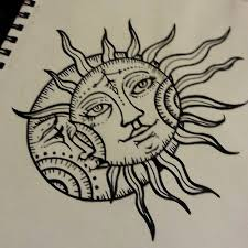 sun drawing moon design tantalizing tatoos