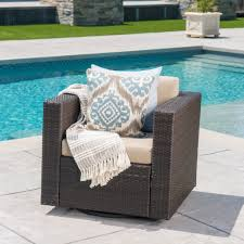 venice outdoor wicker swivel club chair with water resistant