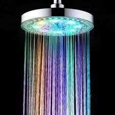 8 inch 7 colors automatic changing round top led light shower head