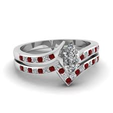 wedding set rings twist channel marquise diamond wedding set with ruby in 950
