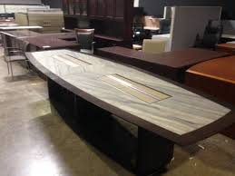 Boat Shaped Boardroom Table Tuohy Custom Made Boat Shape 12 Foot Granite Inlay Cherry