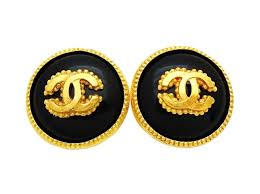 1970s earrings chanel earrings authentic vintage chanel earrings gold cc black