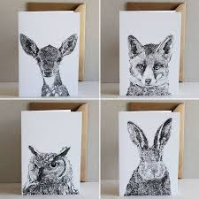 set of four woodland animals cards by ros shiers