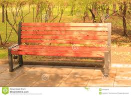 Wooden Park Bench Wooden Park Bench With Rain Drops Stock Photo Image 46463196