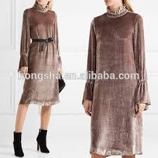 smocked neckline velvet dress frock design with bell cuffs names