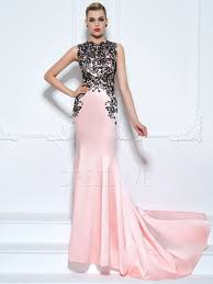 stunning contrast color lace applique mermaid evening dress with