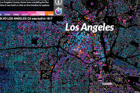 County Map Of Los Angeles by Fantastic Map Dates Every Last Building In Los Angeles Curbed La