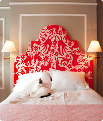 unique red and white upholstered headboard bedroom ideas home