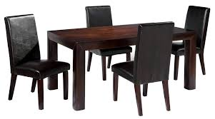 birch wooden dining table with straight legs and four leather