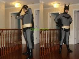 batman grey and black lycra shiny metallic zentai costume