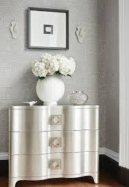 silver and gray foyer with gray trellis wallpaper transitional