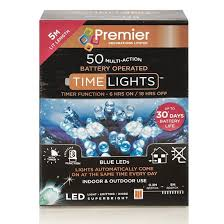 50 multi battery operated led lights with timer blue