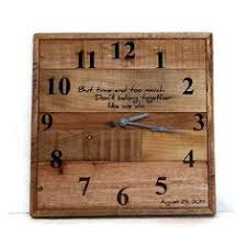 anniversary clocks engraved industrial wall clock pallet wood rustic home decor reclaimed